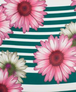 Крепдешин Цветы-Полоска