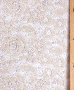 Французское шерстяное кружево Winter Rose Beige-Sable