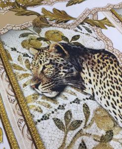 Ткань Креп-атлас принт горох в стиле Версаче с изображением леопарда