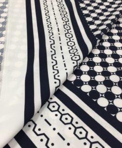 Креп купонный в бело-синей цветовой гамме.