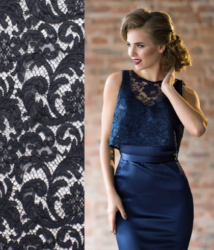 Хлопковое кружево Prada Marine цвет темного моря для вечернего платья