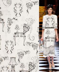 """Крепдешин с принтом из коллекции """"Dolce&Gabbana"""" купить на Lace-place.ru"""