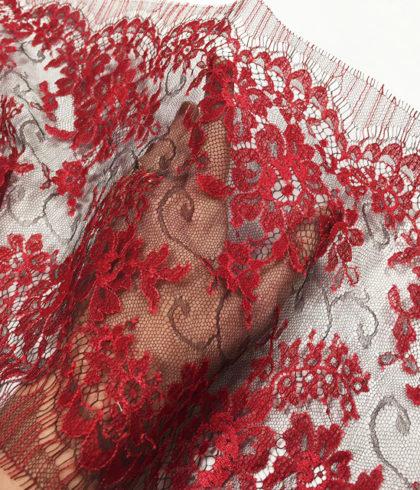 Узкое кружево шантильи Serena Tanin/Bourgogne Красный