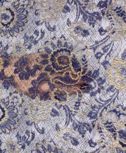 Кружево синее с золотой вышивкой