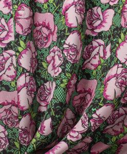 Крепдешин натуральный с цветами цвет розовый