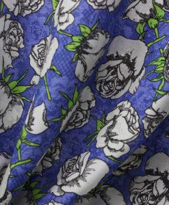 Крепдешин натуральный с цветами цвет синий