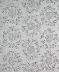 Кружевная вышивка на сетке с пайетками серый
