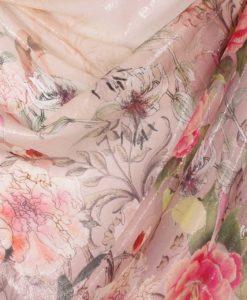 Шифон с люрексом с крупными цветами