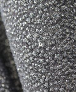 Вышивка на сетке с блеском цвет тёмно-серый