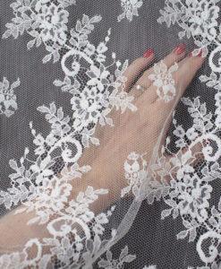 Кружево свадебное шантильи с вискозой цвет белый