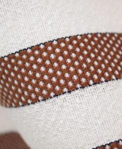 Лён фактурный с шёлком в коричневую полоску