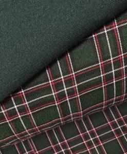 "Ткань костюмная ""Школьная клетка"" зеленая"